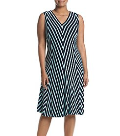Chelsea & Theodore® Plus Size Chevron V-Neck Dress
