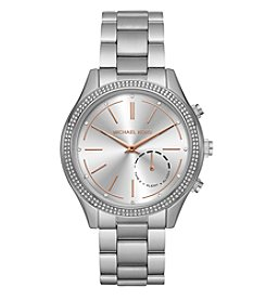Michael Kors® Women's 42mm Access Slim Runway  Silvertone Pavé Hybrid Smartwatch