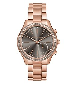 Michael Kors® Women's 42mm Access Slim Runway Rose Goldtone Pavé Hybrid Smartwatch