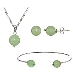 Designs by FMC Silver-Plated Aventurine Earrings, Pendant, and Bracelet Set