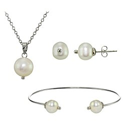 Designs by FMC Silver-Plated Freshwater Pearl Earrings, Pendant, and Bracelet Set