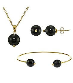 Designs by FMC Gold-Plated Onyx Earrings, Pendant, and Bracelet Set
