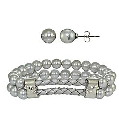 Designs by FMC Silver-Plated White Pearl Earrings and Bracelet Set