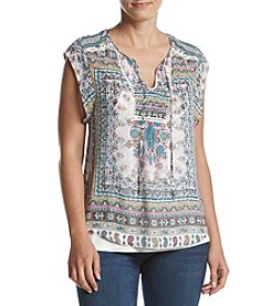 Ruff Hewn Lace Trim Peasant Top