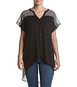 A. Moon Geo Printed Button Front Top