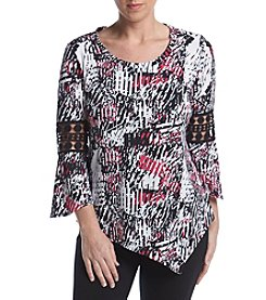 Studio Works® Petites' Printed Bell Sleeve Blouse