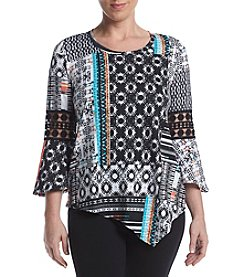Studio Work® Petites' Printed Crochet Bell Sleeve Top