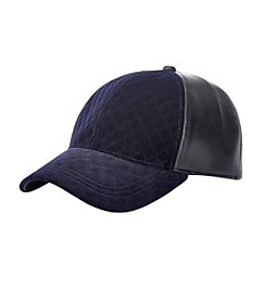 August Hats Quilted Corduroy And Faux Leather Baseball Cap
