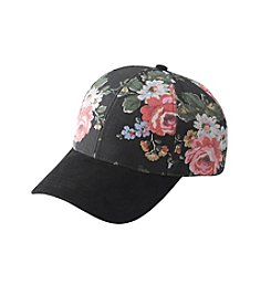 Collection 18 Floral Canvas And Suede Baseball Cap