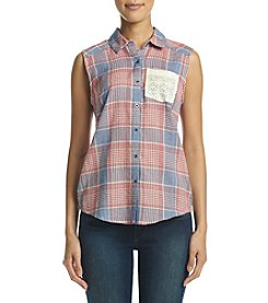 Ruff Hewn Petites' Lace Trim Plaid Top