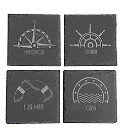 Cathy's Concepts Set of 4 Nautical Slate Coasters