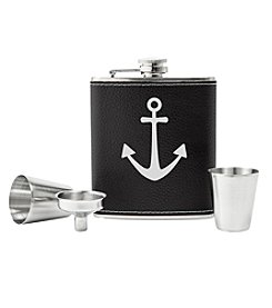 Cathy's Concepts Leather Wrapped Anchor Flask Set