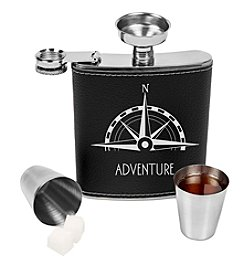 Cathy's Concepts Leather Wrapped Compass Flask Set