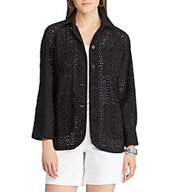 Chaps® Eyelet Lace Shirt Jacket