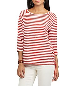Chaps® Striped Lace-Up Pullover