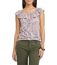 Chaps® Paisley Off-The-Shoulder Top