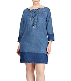 Lauren Ralph Lauren® Plus Size Lace-Up Denim Shift Dress
