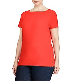 Lauren Ralph Lauren® Plus Size Stretch Cotton Boatneck Tee
