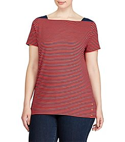 Lauren Ralph Lauren® Plus Size Striped Cotton Boatneck Tee