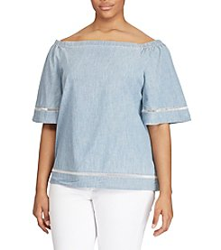 Lauren Ralph Lauren® Plus Size Chambray Off-The-Shoulder Top