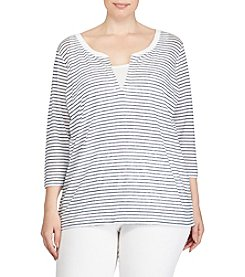 Lauren Ralph Lauren® Plus Size Striped Linen Jersey Shirt