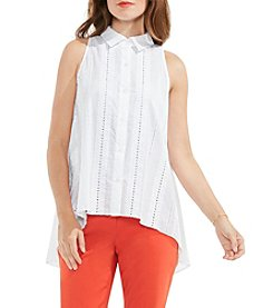 Vince Camuto® Button Down High Low Eyelet Blouse