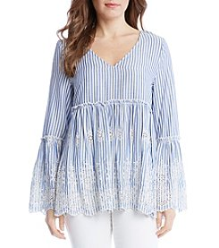 Karen Kane® Embroidered Bell Sleeve Top