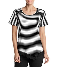 Alfred Dunner® Petites' Lace Trim Stripe Knit Top
