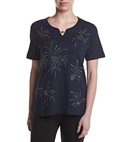 Alfred Dunner® Petites' Lady Liberty Firework Print Tee