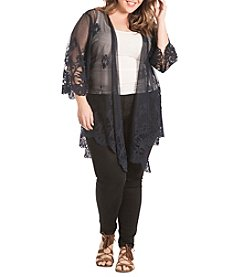 Eyeshadow® Plus Size Allover Lace Kimono