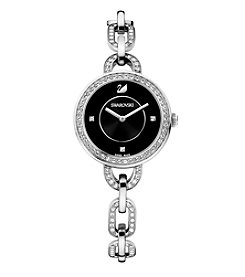 Swarovski® Aila 31mm Black Dial Silvertone Watch