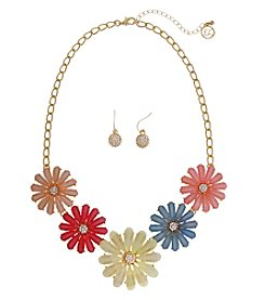 Erica Lyons® Flower Necklace And Pierced Earrings Set