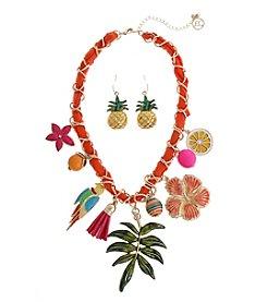 Erica Lyons® Tropical Charm Necklace And Earrings Gift Set