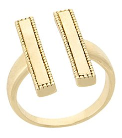 Laundry Goldtone Double Bar Ring