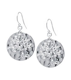 Athra Hammered Round Tree Of Life Drop Earrings