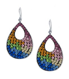 Athra Rainbow Crystal Pave Open Teardrop Earrings