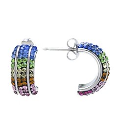 Athra Rainbow Crystal Pave Half Hoop Earrings