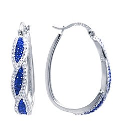 Athra Crystal Pave Twist Click-It Hoop Earrings