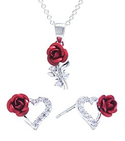 Athra Heart And Rose Necklace And Earrings Set