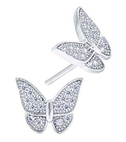 Athra Pave Butterfly Stud Earrings