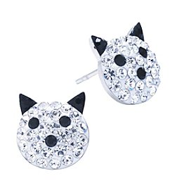 Athra Crystal Pave Cat Face Stud Earrings