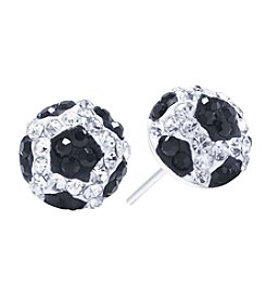 Athra Crystal Pave Soccer Ball Stud Earrings