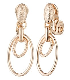 Anne Klein® Textured Double Hoop Drop Clip Earrings