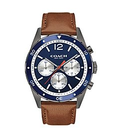 COACH MEN'S 44mm SULLIVAN STAINLESS STEEL IP AND LEATHER STRAP CHRONOGRAPH WATCH