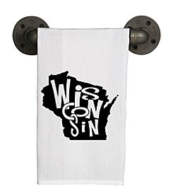 Second Nature by Hand Chunky Letters Wisconsin Tea Towel