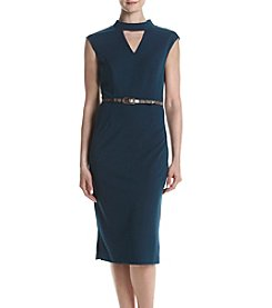 Connected® Sleeveless Scuba Belt Sheath Dress