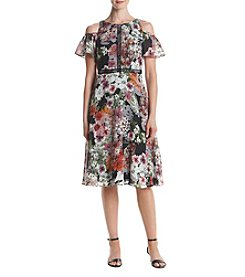 Gabby Skye® Floral Printed Cold Shoulder Dress