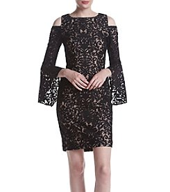 Xscape Lace Bell Sleeve Dress