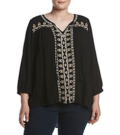 Oneworld® Plus Size 3/4 Sleeve Peasant Top