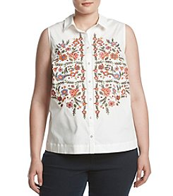 Democracy Plus Size Embroidered Front Blouse